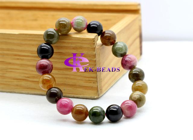 Atacado Mesma Qualidade Genuine Natural Natural Turmalina Mix Terminou Trecho Pulseira Rodada beads 10 Jóias Fit DIY 03159