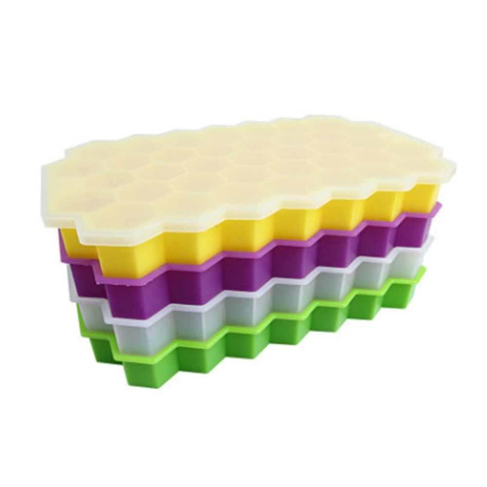 Durable Silicone Ice Cube Trays Silicone Mold with Lid Flexible 37 Cubes Storage Container for Cocktail
