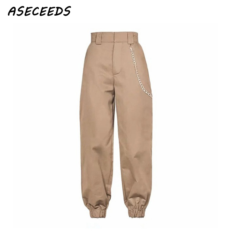 Spring 2019 fashion woman camo pants women cargo high waist pants loose trousers joggers women camouflage sweatpants streetwear(China)