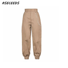 Spring 2018 fashion woman camo pants women cargo high waist pants loose trousers joggers women camouflage sweatpants streetwear cheap Solid Pleated Fake Zippers Button Ankle-Length Pants Spandex Polyester Cotton Broadcloth Cargo Pants High Street ASECEEDS