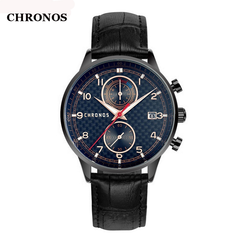 Chronos Mens Watches Top Brand Luxury Quartz Wristwatch Genuine Leather Sports Watches Men Date Clock Relogio Masculino