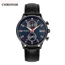 hot deal buy chronos mens watches top brand luxury quartz wristwatch genuine leather sports watches men date clock relogio masculino