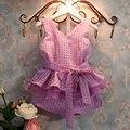 Fashion Girls' Set Eugen Vest Tank Top and Shorts Lattice Ladies Suit Children 's Wear Apparel Baby Purple White 3-7Y