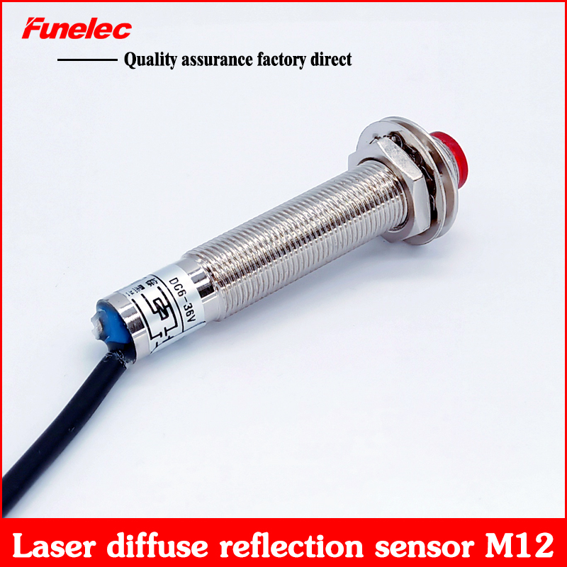 M12 Laser Diffuse Reflection Photoelectric Switch Sensor Sensor Infrared Visible Red Light PNP NPN  Normally Open