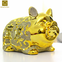 Animal Coins Ceramic Large Golden Pig Piggy Bank Cute Save Money Boxes Jar Gold Funny Money Pots Decorations Products WKO011