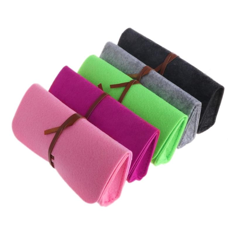 Woolen Blend Felt Sunglasses Bags Cases Portable Soft Glasses Package Accessories Belt Closure(China)