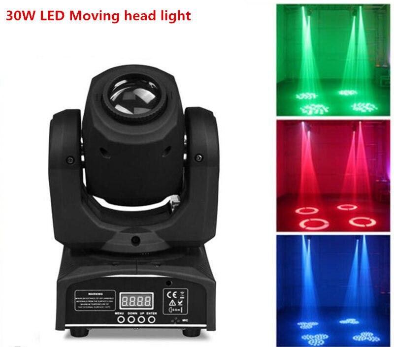 цена на 2pcs/lot Mini Spot LED 30W LED Spot Moving Head Light/ dj controller LED gobo Lights beam lights
