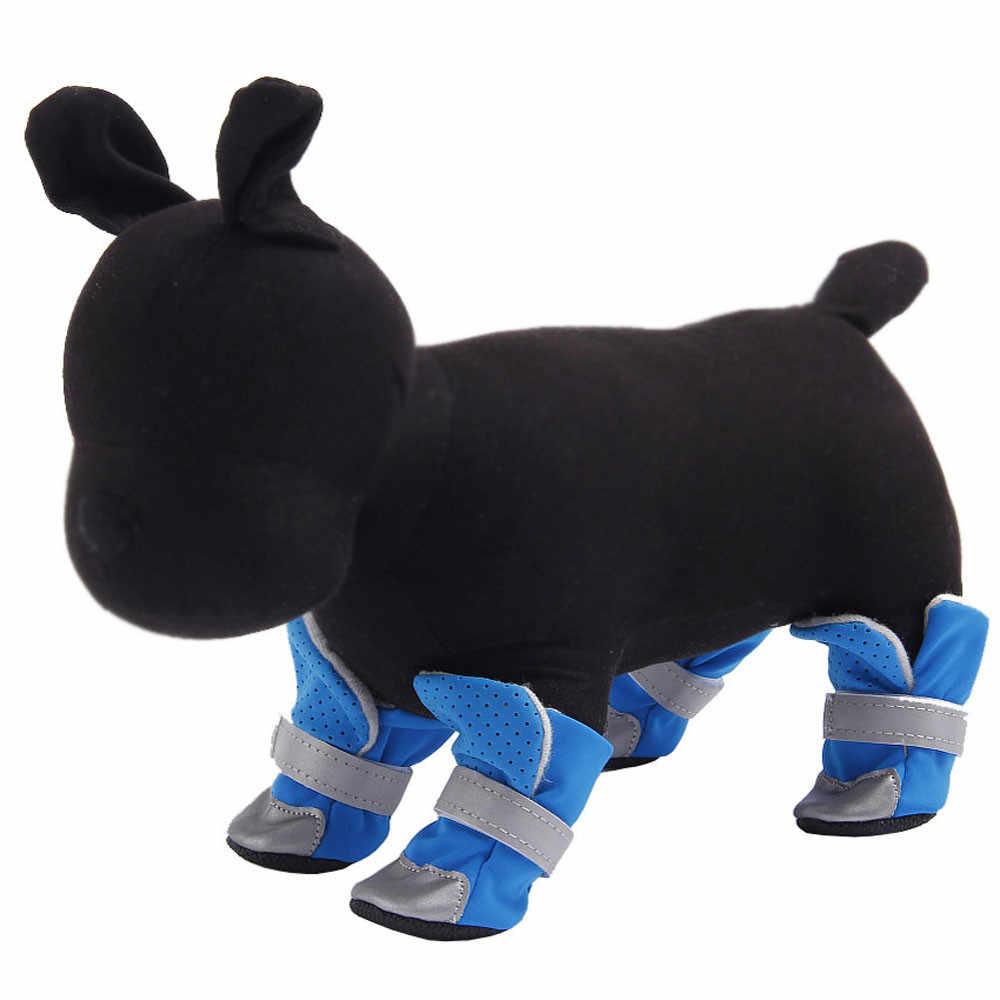 2018 neue 4Pcs Hund Schuhe Anti-slip Frühling Sommer Haustier Stiefel Protector Reflektierende Gurte # NE807