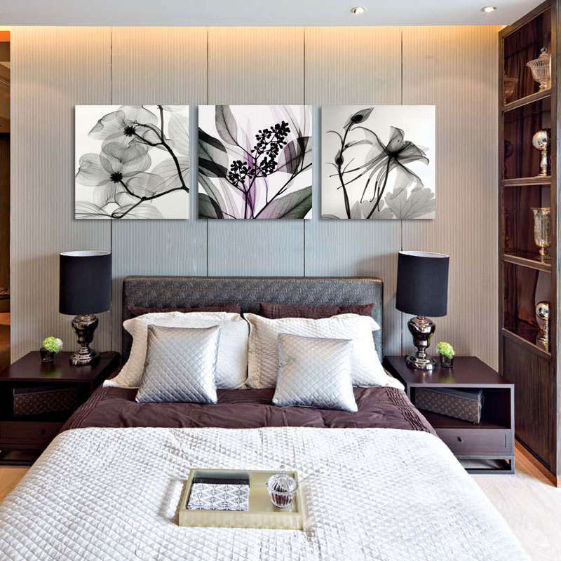 Dining Room Art Prints: Wall Art Black&White Abstract Flowers Print Canvas