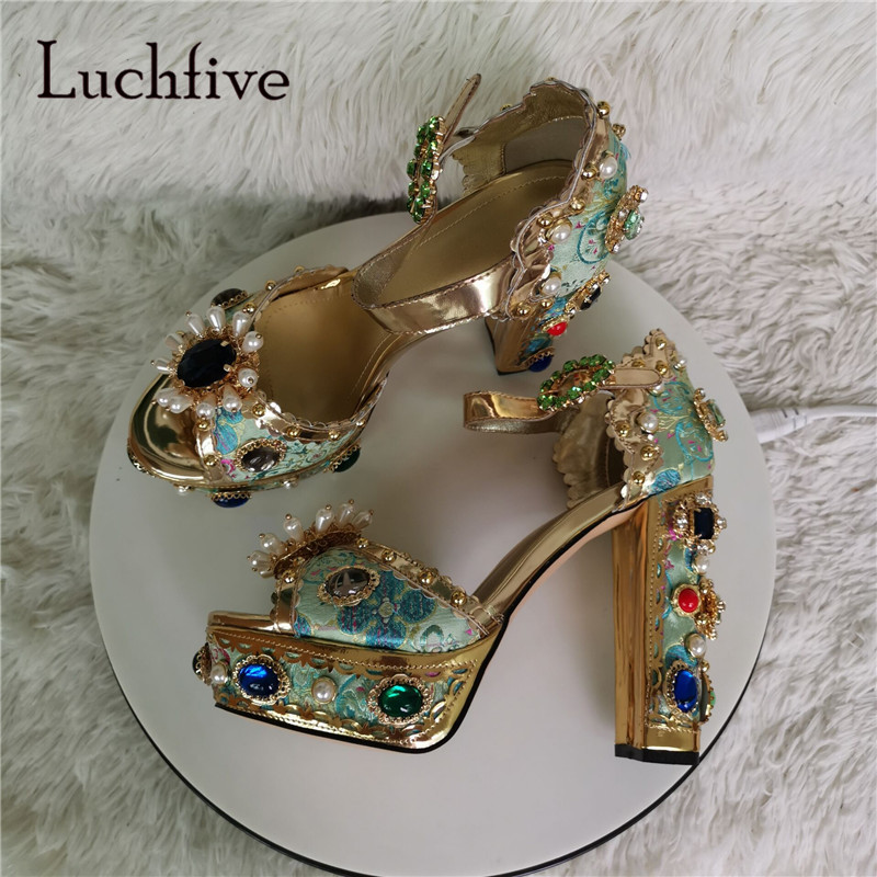 Luxury Rhinestone Chunky High Heel Sandals Women Embroidery Platform Sandals Buckle Party Sandalia Pearl Wedding Shoes