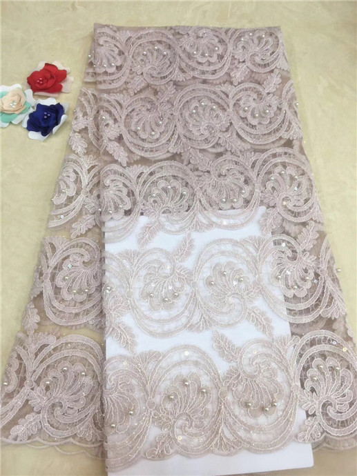 High quality French beaded lace fabric, wedding dress pearl sequined white lace embroidered applique floral party dess fabri(FJ