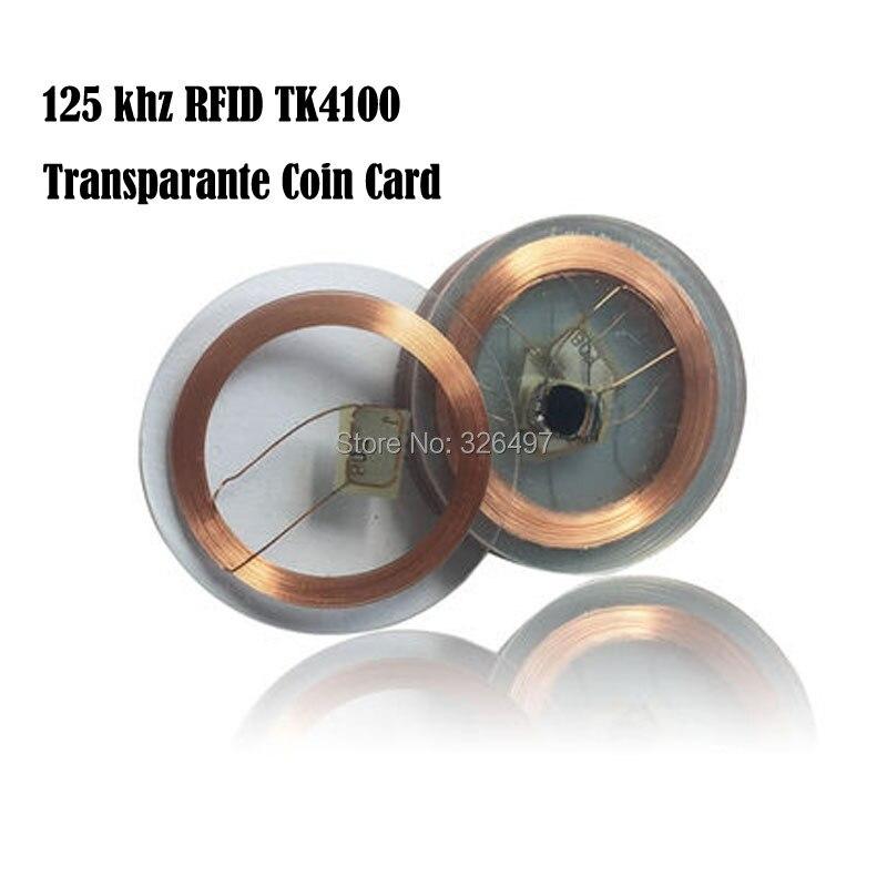 imágenes para 100 UNIDS 125 khz RFID EM4100 TK4100 Tarjeta Coin Transparante (25mm) Id de kaart tarjetas de Acceso Etiquetas de Control
