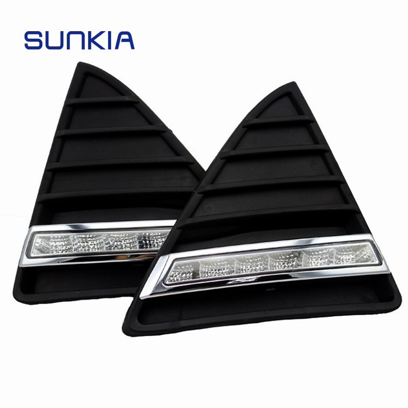 SUNKIA 2Pcs set Waterproof LED Daytime Running Light DRL For Ford Focus With Turning Signal Lights