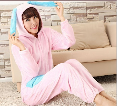 Flannel rabbit Animal Adulto Onesie Sleepsuit Pijama Cosplay Coelho Com Orelha Longa Pij ...