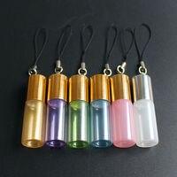 50 قطعة/الوحدة 3 ملليلتر 5 ملليلتر لفة على زجاجة ملونة الزيوت الأساسية زجاجة عطر عينة قوارير الزجاج مع مفتاح سلسلة