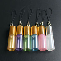 50pcs/lot 3ml 5ml Roll on Glass Bottle Colorful Essential Oils Bottle Refillable Perfume Sample Glass Vials with Key Chain