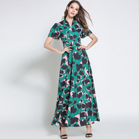 LAKYZUMI Merk vrouwen Kleding Nieuwe Zomer Mode V-hals Sjerpen Chiffon Lange Jurk Vintage Korte Mouw Ruches Jurken Vrouwelijke