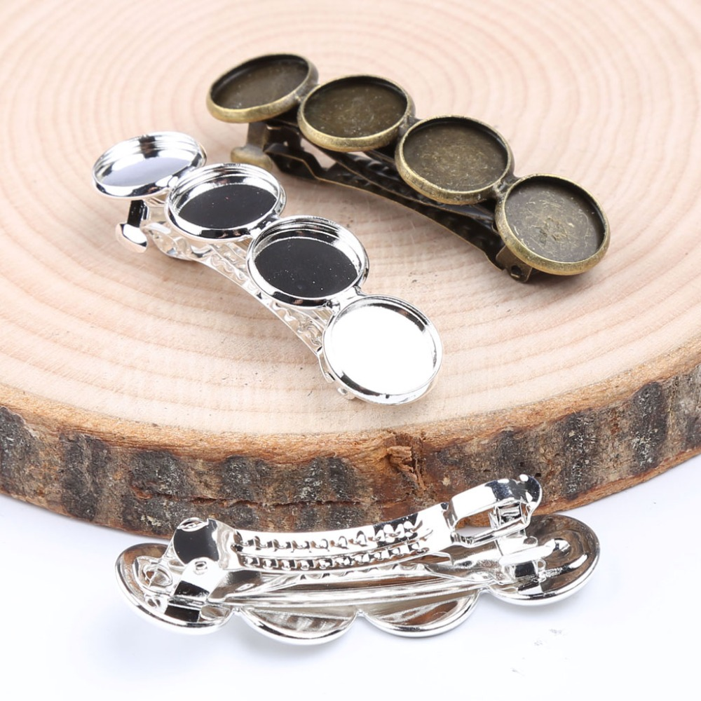 reidgaller 10pcs silver plated glass cabochon hair clip setting fit 12mm hairclip base trays diy hair jewelry bezels freeshipping glass clip base ns4802