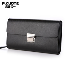 P.KUONE Genuine Leather Clutch Bag 2017 New Design Male Wallet Luxury Brand Messenger Bag Business Men Coin Purse Phone Handbag
