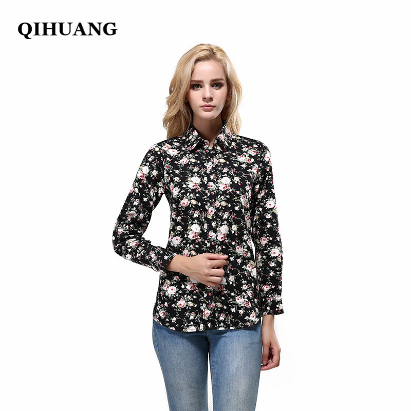 QIHUANG Fashion Brand Women Chiffon Tops Vintage Floral Cotton Turn Down Collar 2017 Tops Female Casual