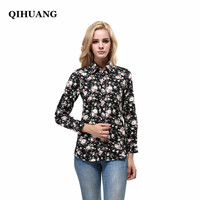 QIHUANG Women Vintage Floral Dress Shirt Ladies Cotton Turn Down Collar Tops Female Casual Bluses Long