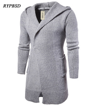 Solid Color Long Cardigan Sweater Coat Knitted Sweater Men Casual Hooded Long Sweater Pullover Coat Knitted Sweaters Male