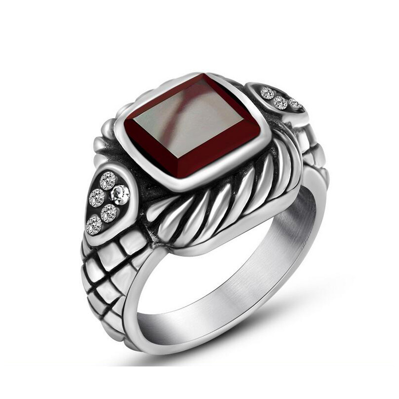 fashion new stainless steel mens rings red wedding rings for men vintage opal jewelry high quality - Red Wedding Rings