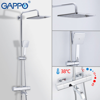 GAPPO Shower System thermostatic shower faucet chrome basin mixer waterfall bath mixer rain shower set rain shower system