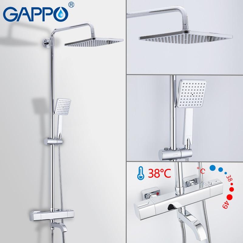 GAPPO Shower System Thermostatic Shower Faucet  Chrome Basin Mixer Waterfall Bath Mixer Rain Shower Set  Rain Shower System