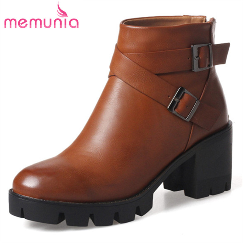 MEMUNIA Large size 34-43 high heels boots in spring autumn fashion shoes woman ankle boots for women platform PU zip new spring autumn women boots black high heels thick heel boots lace up platform ankle boots large size 34 43
