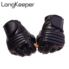 Long Keeper New Style Mens Leather Driving Gloves Fitness Half Finger Tactical Black Guantes Luva Fingerless