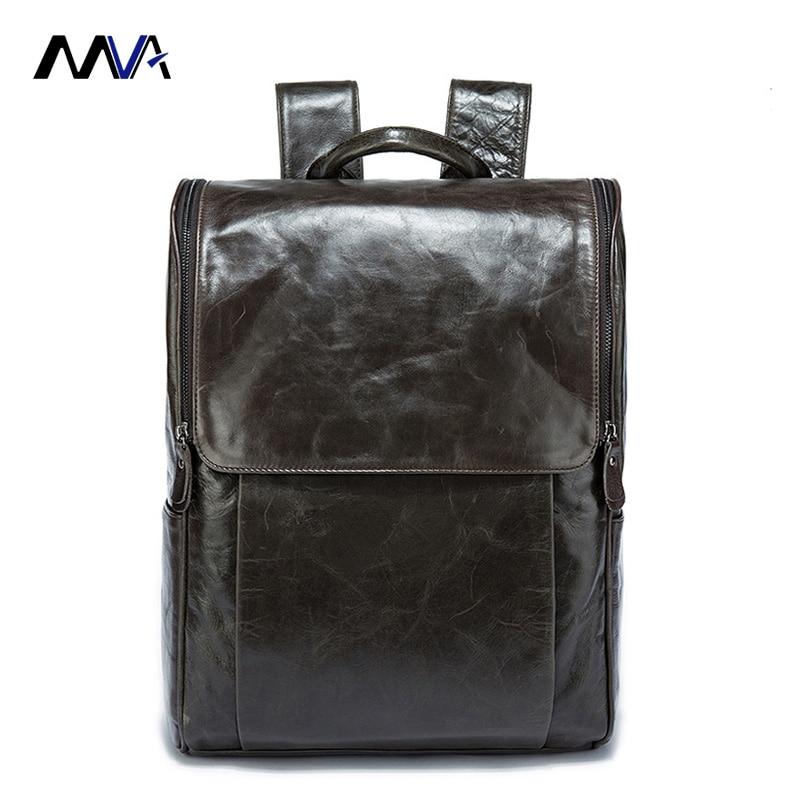 MVA 100% Genuine Leather Men Backpack Travel Bag Man Backpack Casual Business Bag Male Backpack Men Leather School backpack male classic microfiber leather backpack
