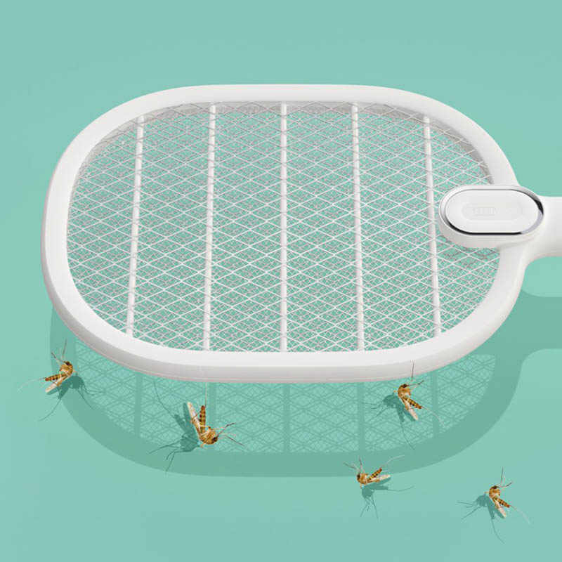 Listrik Nyamuk Pemukul Isi Ulang LED Listrik Serangga Terbang Nyamuk Dispeller Pembunuh Raket 3-Layer Net