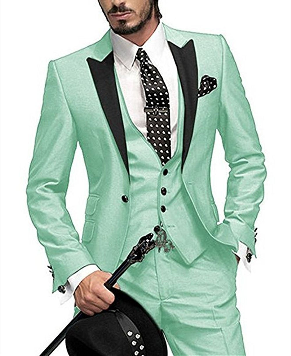 Men\'s Suit Slim Fit One Button 3 Pieces Custom Made!! Gentle Mens ...