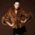 2016 New Winter Autumn Women Leopard Fur Coat Women Faux Fur Jacket Artificial Fox Fur Collar Female Outerwear Overcoat