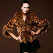 2016 New Winter Autumn Women Leopard Fur Coat Women Faux Fur Jacket Artificial Fox Fur Collar Female Outerwear Overcoat