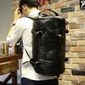 Xiao.P Men's PU Leather Travel Bags Fashion Men Backpacks Men's Multi-purpose Travel Backpack Multifunction Shoulder Bag