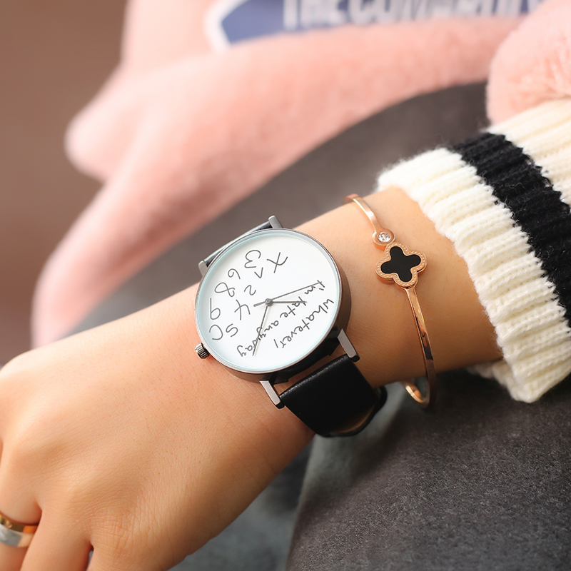 LEXAPE New Whatever I'm Late Anyway Watch Women Color Leather Causal Quartz Wristwatch Ladies Waterproof Clock Relogio Feminino lovesky 2016 new arrival women pu leather watch who cares i am late anyway letter watches wrist watch free shipping