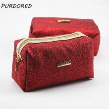 PURDORED 1 pc Red Makeup Bag PU Cosmetic Bag For Makeup Women Handbag Travel Beauty Toiletry Bag Organizer Dropshipping