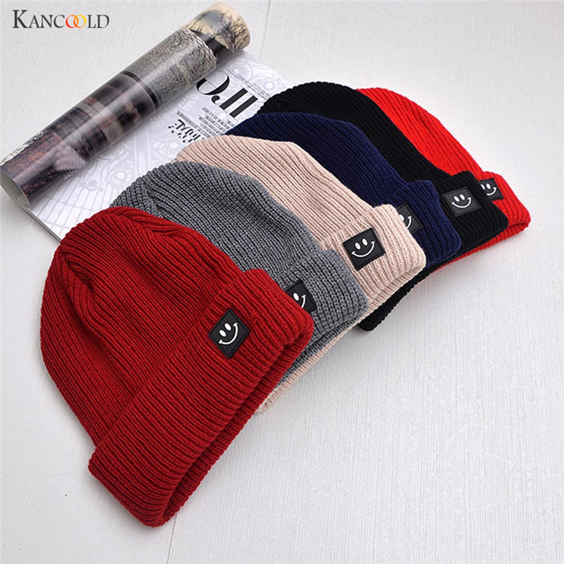 Fashion Knit Beanies for Women Fashion Knitted Winter Hat Solid Color Hip-hop Smile Patch Skullies Bonnet Womens Cap Gorro se192 ...