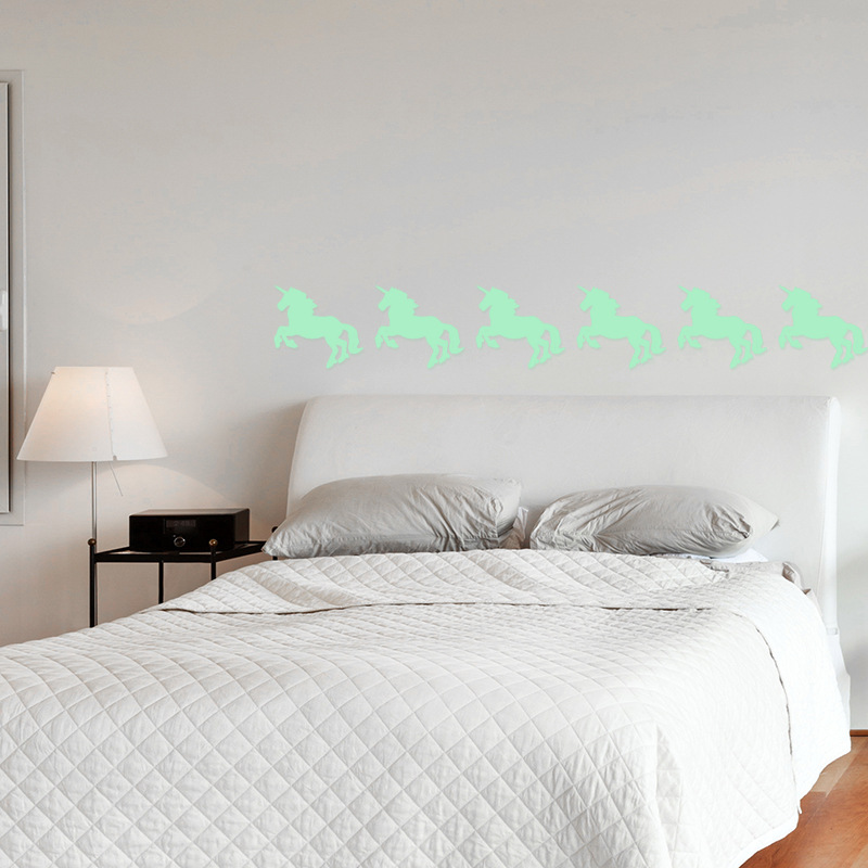 Free Shipping Eco-friendly Glowing Wall Decals Nordic Style Shining Unicorn Stickers For Kid`s Room Livingroom Entrance Shops