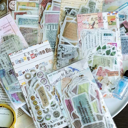 YPP CRAFT 60pcs Vintage Magazine Washi Paper Stickers For Scrapbooking DIY Projects/Photo Album/Card Making Crafts