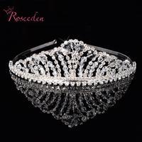 Luxury Bride Rhinestone Crown Wedding Tiara Handmade Beading Silver Plated Bridal Jewelry Korea Style Alloy Headwear