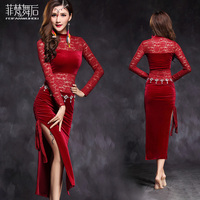 New Vogue Long Sleeve Velvet Lace Placketing Sexy Belly Dance One Piece Dress For Women Female