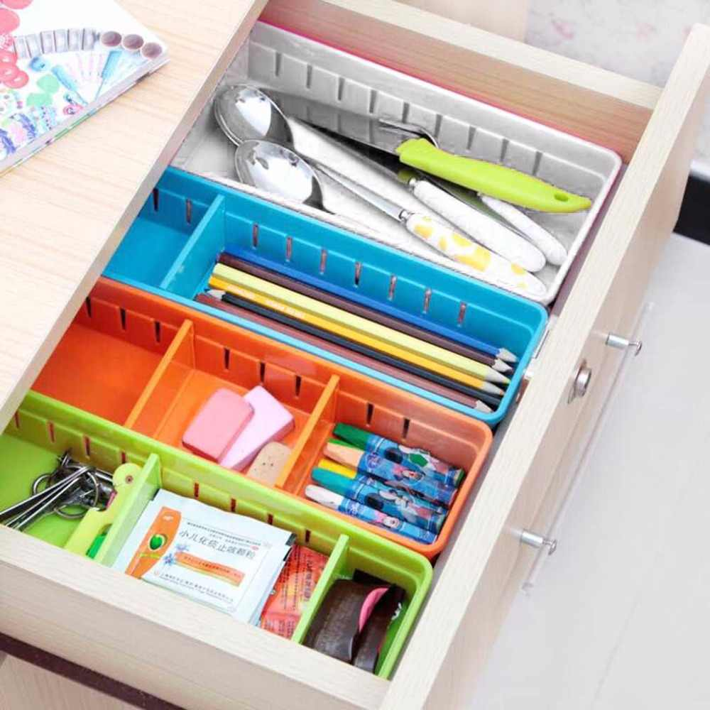 Desain Kreatif Laci Organizer Dapur Rumah Papan Bebas Pembagi Makeup Peralatan Makan Kotak Penyimpanan