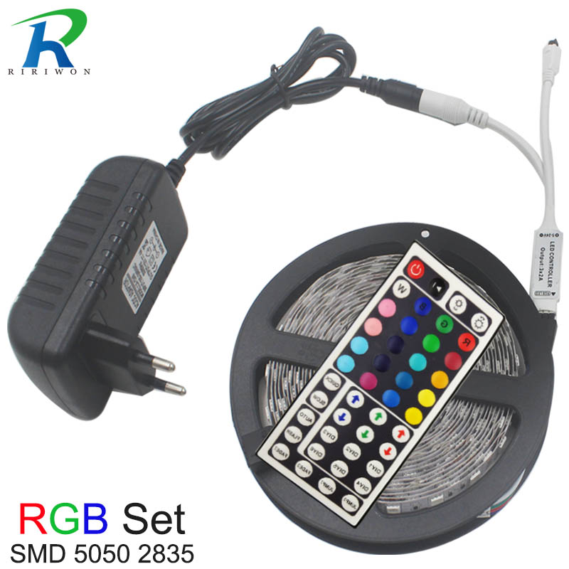 5m 10m Flexible LED Strip Light RGB SMD 5050 2835 DC12V Home Decoration Led tiras Diode Ribbon + Contoller EU Plug led Strip Kit5m 10m Flexible LED Strip Light RGB SMD 5050 2835 DC12V Home Decoration Led tiras Diode Ribbon + Contoller EU Plug led Strip Kit