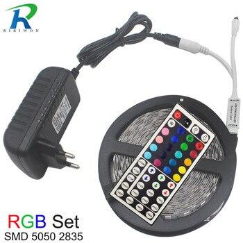 5m 10m Flexible LED Strip Light RGB SMD 5050 2835 DC12V Home Decoration Led tiras Diode Ribbon + Contoller EU Plug led Strip Kit