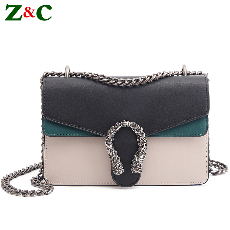 Luxury Brand Women Chain Messenger Shoulder Bag Patchwork Leather Handbag Clutch Purse Famous Designer Crossbody Bags Sac A Main vintage handbags clutch retro women messenger bags panelled box bag rivet crossbody shoulder bags small handbag purse sac a main