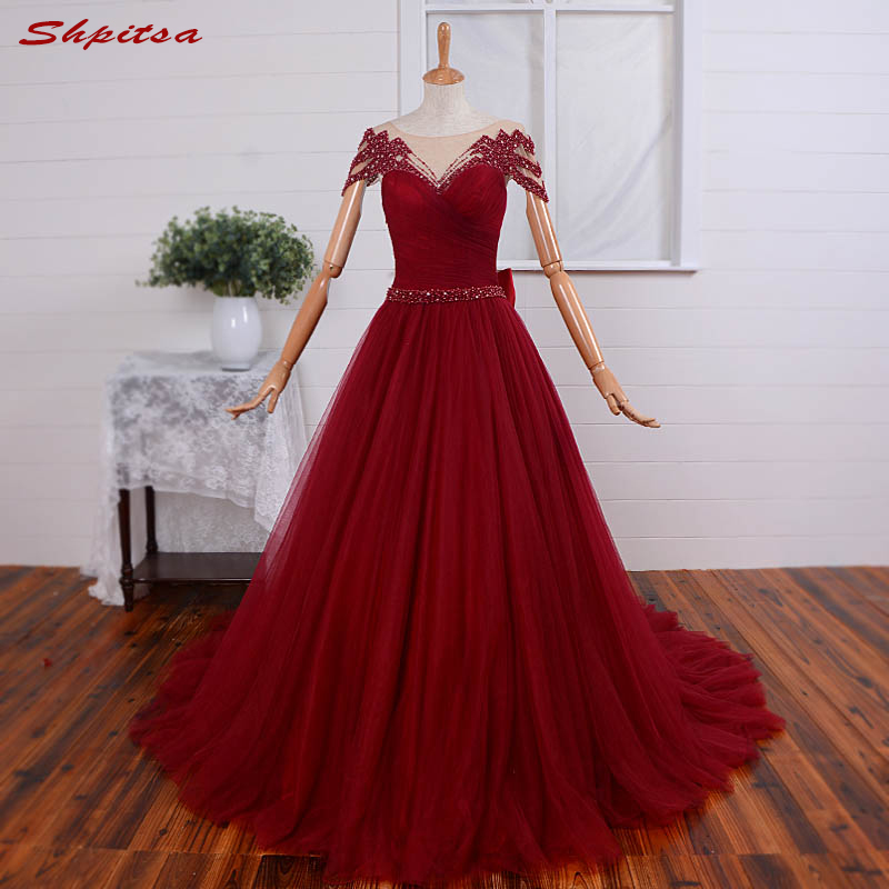 Sexy Red Long Lace Evening Dresses Party Women Beaded Ladies Prom