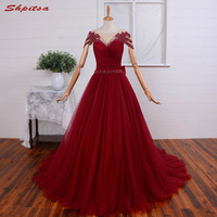 Sexy Red Long Lace Evening Dresses Party Women Beaded Ladies Prom Formal Evening Gowns Dresses for Wedding